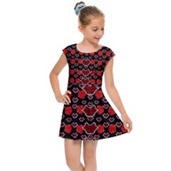 Red Lips And Roses Just For Love Kids Cap Sleeve Dress by pepitasart