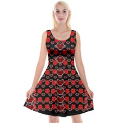 Red Lips And Roses Just For Love Reversible Velvet Sleeveless Dress by pepitasart