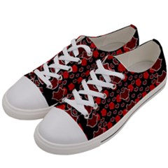 Red Lips And Roses Just For Love Women s Low Top Canvas Sneakers by pepitasart