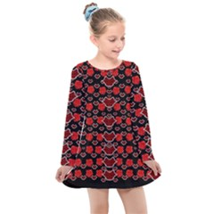 Red Lips And Roses Just For Love Kids  Long Sleeve Dress