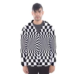 2 Color Checkered Square Tunnel Hooded Windbreaker (men)