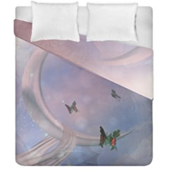 The Wonderful Moon With Butterflies Duvet Cover Double Side (california King Size) by FantasyWorld7