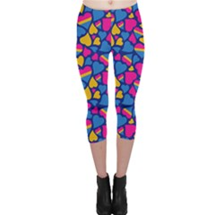 Pansexual Pride Hearts; A Cute Pan Pride Motif! Capri Leggings  by PrideMarks