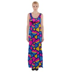 Pansexual Pride Hearts; A Cute Pan Pride Motif! Maxi Thigh Split Dress by PrideMarks