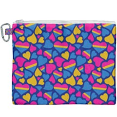 Pansexual Pride Hearts; A Cute Pan Pride Motif! Canvas Cosmetic Bag (xxxl) by PrideMarks