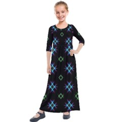 Background Abstract Vector Fractal Kids  Quarter Sleeve Maxi Dress by Celenk