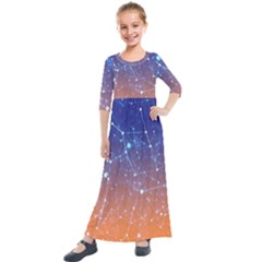 Abstract Pattern Color Design Kids  Quarter Sleeve Maxi Dress by Celenk
