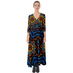 Pattern Abstract Background Art Button Up Boho Maxi Dress