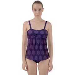 Hexagon Grid Geometric Hexagonal Twist Front Tankini Set