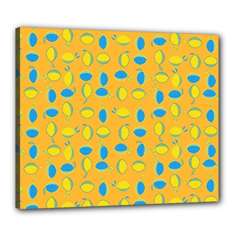 Lemons Ongoing Pattern Texture Canvas 24  X 20  (stretched) by Celenk
