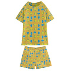 Lemons Ongoing Pattern Texture Kids  Swim Tee And Shorts Set