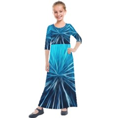 Background Structure Lines Kids  Quarter Sleeve Maxi Dress by Celenk