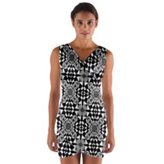 Fabric Design Pattern Color Wrap Front Bodycon Dress by Celenk