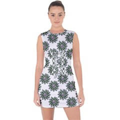 Graphic Pattern Flowers Lace Up Front Bodycon Dress
