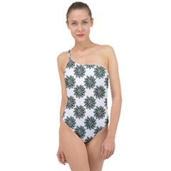 Graphic Pattern Flowers Classic One Shoulder Swimsuit