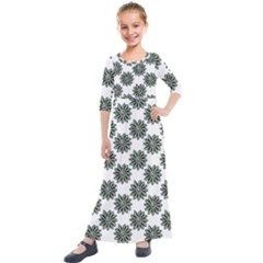 Graphic Pattern Flowers Kids  Quarter Sleeve Maxi Dress by Celenk