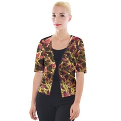Plant Leaves Foliage Pattern Cropped Button Cardigan