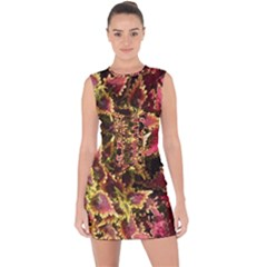 Plant Leaves Foliage Pattern Lace Up Front Bodycon Dress