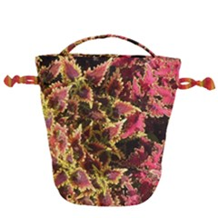 Plant Leaves Foliage Pattern Drawstring Bucket Bag by Celenk