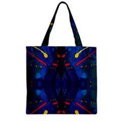 Kaleidoscope Art Pattern Ornament Zipper Grocery Tote Bag by Celenk