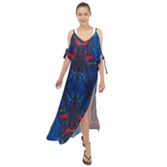 Kaleidoscope Art Pattern Ornament Maxi Chiffon Cover Up Dress by Celenk