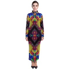 Kaleidoscope Art Pattern Ornament Turtleneck Maxi Dress