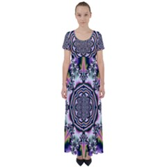 Pattern Abstract Background Art High Waist Short Sleeve Maxi Dress