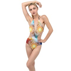 Universe Galaxy Sun Clock Time Plunging Cut Out Swimsuit