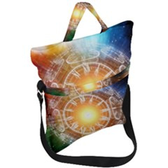 Universe Galaxy Sun Clock Time Fold Over Handle Tote Bag