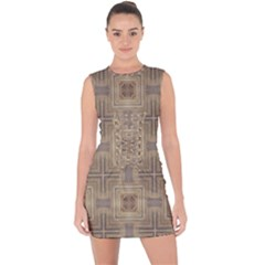 Abstract Wood Design Floor Texture Lace Up Front Bodycon Dress