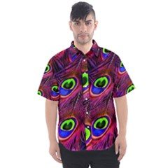 Peacock Feathers Color Plumage Men s Short Sleeve Shirt