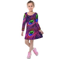 Peacock Feathers Color Plumage Kids  Long Sleeve Velvet Dress by Celenk
