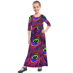 Peacock Feathers Color Plumage Kids  Quarter Sleeve Maxi Dress by Celenk