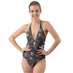 Background Metal Pattern Texture Halter Cut Out One Piece Swimsuit