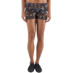 Background Metal Pattern Texture Yoga Shorts