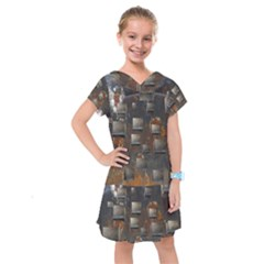Background Metal Pattern Texture Kids  Drop Waist Dress