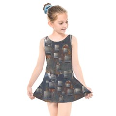 Background Metal Pattern Texture Kids  Skater Dress Swimsuit