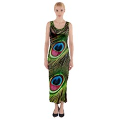 Peacock Feathers Color Plumage Fitted Maxi Dress