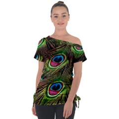 Peacock Feathers Color Plumage Tie Up Tee by Celenk