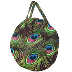 Peacock Feathers Color Plumage Giant Round Zipper Tote by Celenk