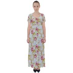 Background Pattern Flower Spring High Waist Short Sleeve Maxi Dress