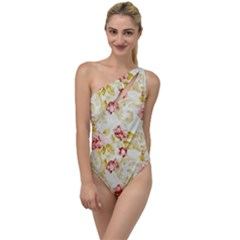 Background Pattern Flower Spring To One Side Swimsuit