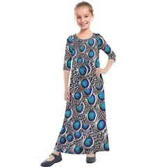 Peacock Pattern Close Up Plumage Kids  Quarter Sleeve Maxi Dress by Celenk
