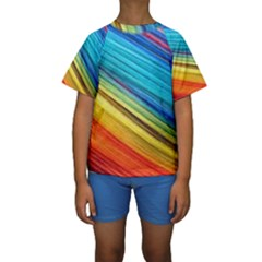 Rainbow Kids  Short Sleeve Swimwear by NSGLOBALDESIGNS2