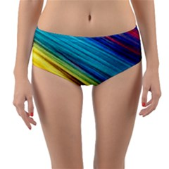 Rainbow Reversible Mid Waist Bikini Bottoms by NSGLOBALDESIGNS2