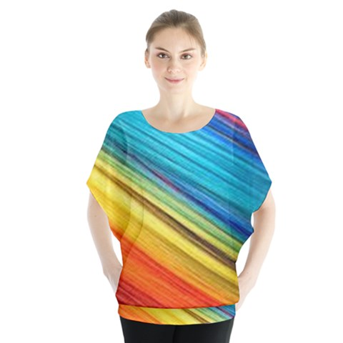 Rainbow Batwing Chiffon Blouse by NSGLOBALDESIGNS2