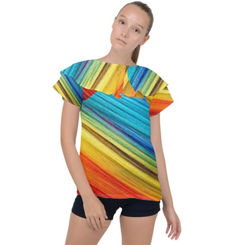Rainbow Ruffle Collar Chiffon Blouse by NSGLOBALDESIGNS2