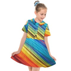 Rainbow Kids  Short Sleeve Shirt Dress by NSGLOBALDESIGNS2