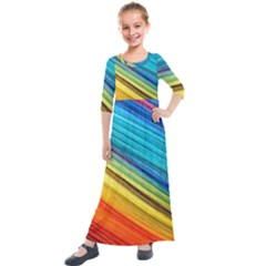 Rainbow Kids  Quarter Sleeve Maxi Dress by NSGLOBALDESIGNS2