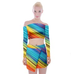 Rainbow Off Shoulder Top With Mini Skirt Set by NSGLOBALDESIGNS2